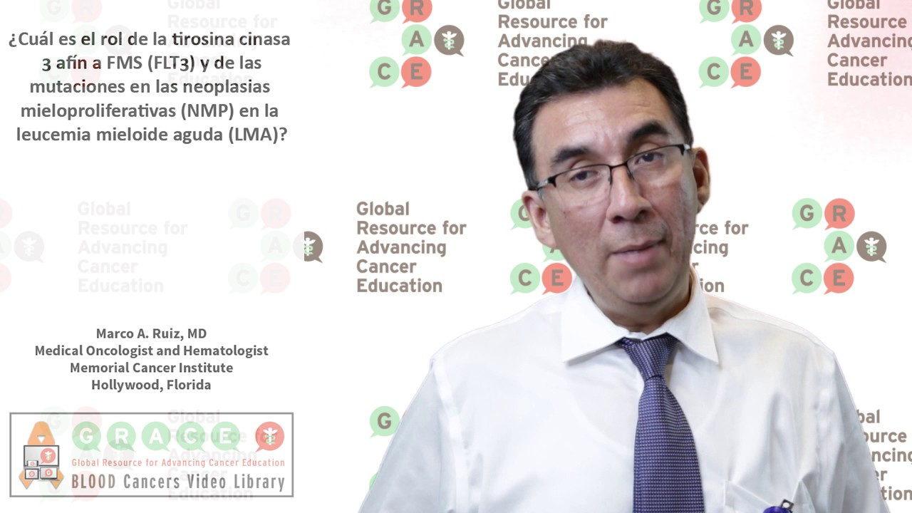 Embedded thumbnail for Spanish Blood Cancer Library - What is the role of fms related tyrosine kinase 3 (flt3) and myeloproliferative neoplasms (MPN) mutations in acute myeloid leukemia (AML)?