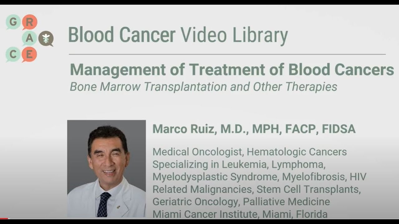 Embedded thumbnail for Blood Cancer Video Library - Ruiz - Blood Cancers - Bone Marrow Transplantation and Other Therapies