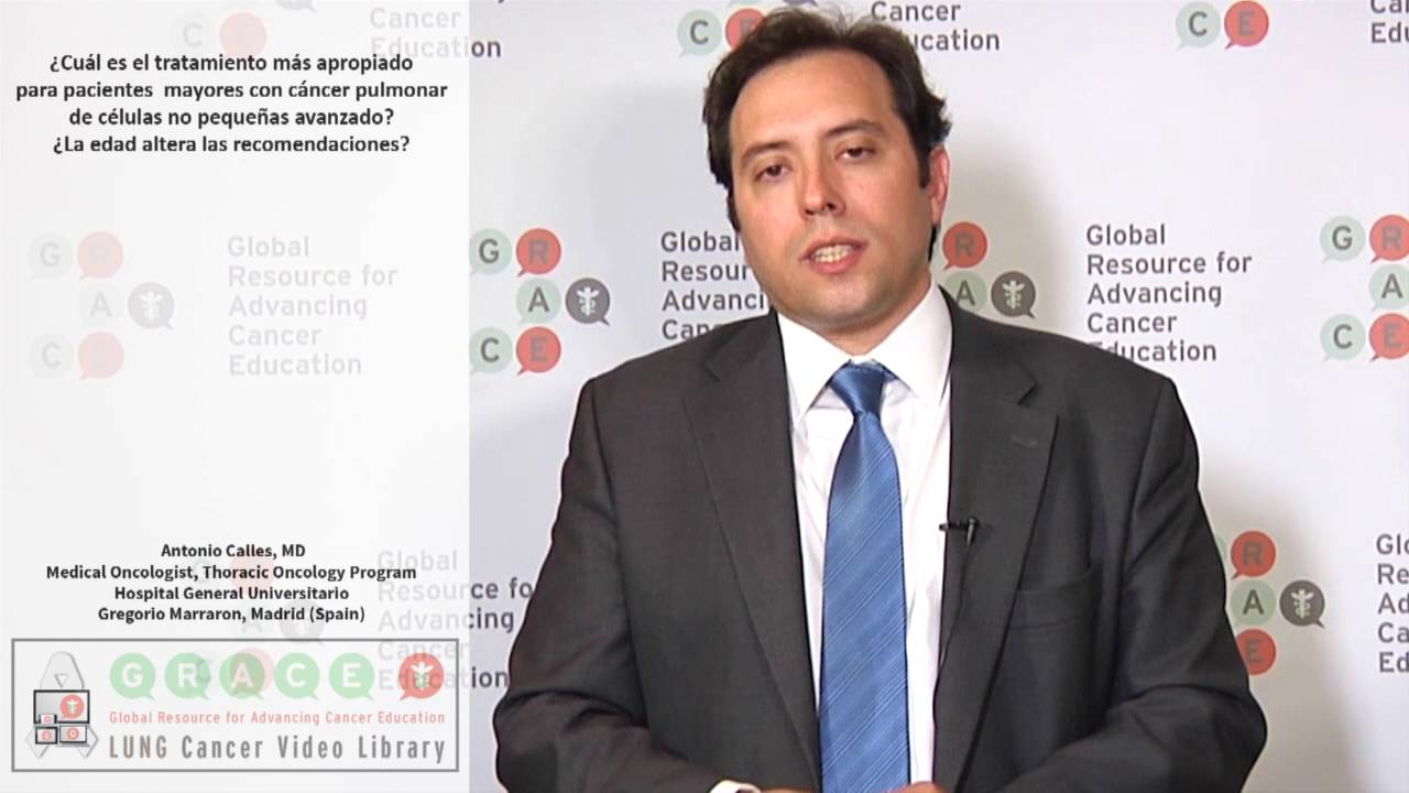 Embedded thumbnail for Lung Cancer Video Library - Spanish Language: Video #5 What is the most appropriate treatment for elderly patients with advanced NSCLC? Does age alter recommendations?
